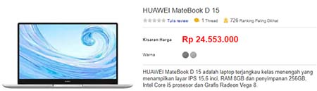 Harga Laptop Huawei MateBook D15